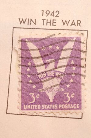 cobradores: sello de coleccionista 1942 usa ganar la guerra macro gran detalle