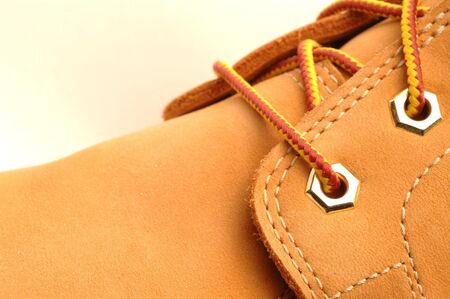 timberland: work shoe detail shot