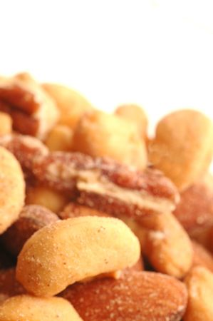 mixed nuts focus on cashew room for copy photo