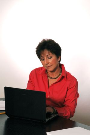 concentration at laptop soft focus model released 2062 laura magrone photo