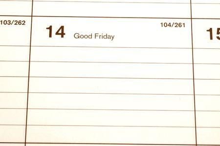 blotter: good friday calendar blotter copy space Stock Photo