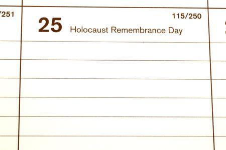 blotter: holocaust remembrance day calendar blotter copy space Stock Photo