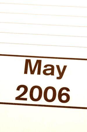 blotter: may 2006 calendar blotter diagonal copy space Stock Photo