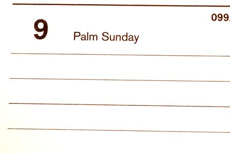 palm sunday: palm sunday calendar blotter Stock Photo