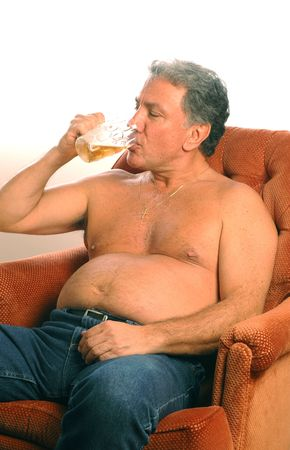 hairy chest: beer belly model released Stock Photo