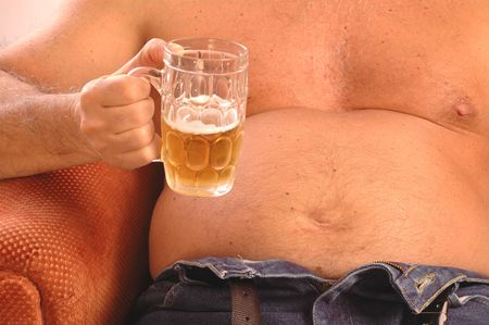 hairy chest: beer drinker belly Stock Photo