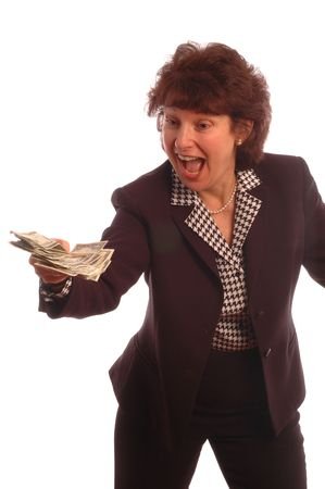 model released: cash in hand model released copy space white background 408