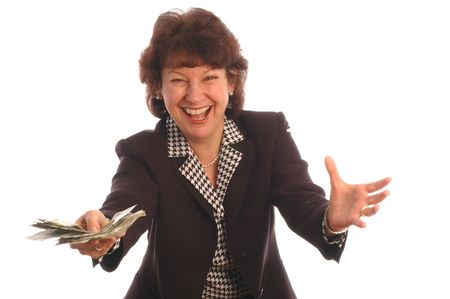 elated: elated woman with cash model released 412 Stock Photo