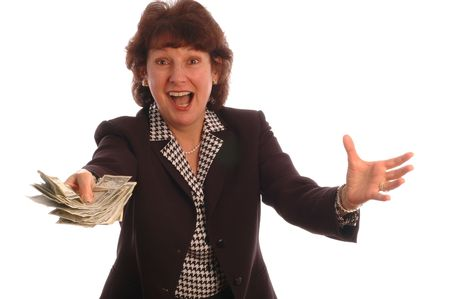 model released: excited woman with cash model released 414 Stock Photo