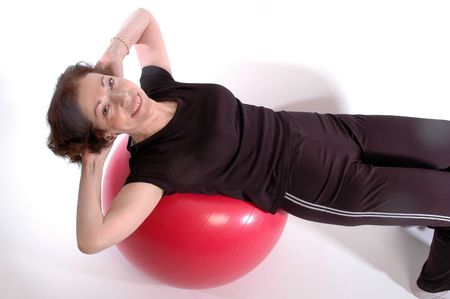 smiling woman on fitness ball 917