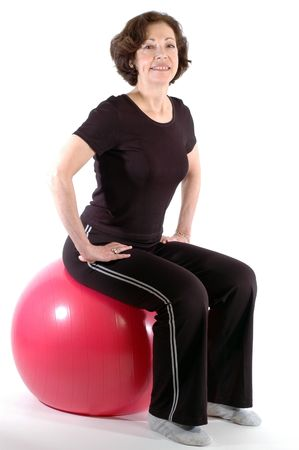 smiling woman on fitness ball 904