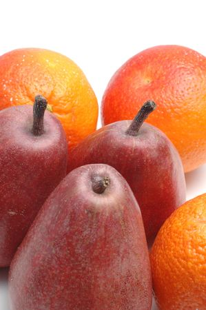 lopsided: anjou pears and blood oranges on white