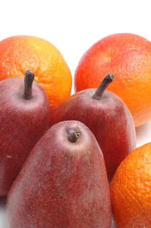 anjou: peras de Anjou y naranjas de sangre en blanco