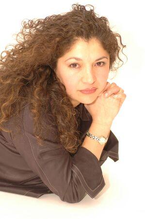 pretty hispanic lady with beautiful curls Stock Photo - 337171