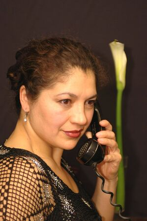 exotic woman on phone with flower Stock Photo - 337161