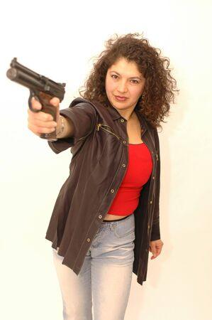 sexy woman with gun Stock Photo - 337163