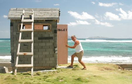 outhouse: nature calls at the outhouse Stock Photo