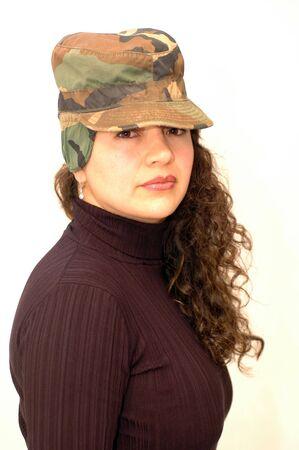 pretty woman in camouflage cap Stock Photo - 340089