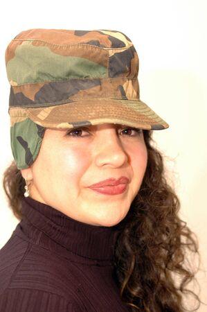 smiling lady in camo cap Stock Photo - 340090