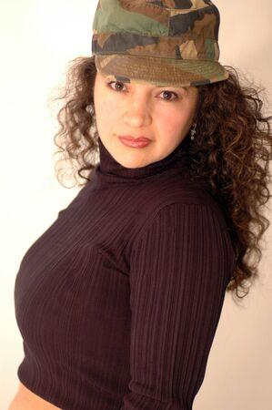 exotic lady in camo cap Stock Photo - 340091