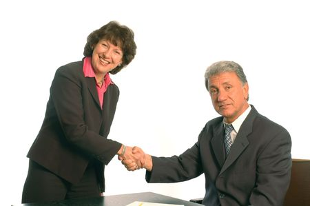 shaking hands at the office