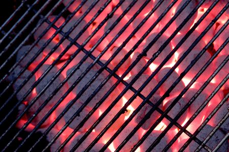 grate: grate on charcoal grill with flames