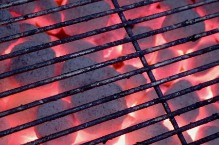 hot charcoal barbecue grill Stock Photo
