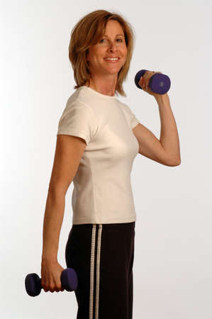 working with dumbbells photo