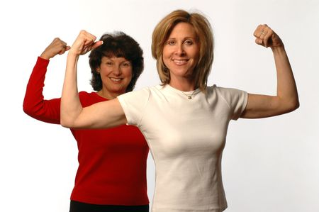 two women in exercise mode Stock Photo