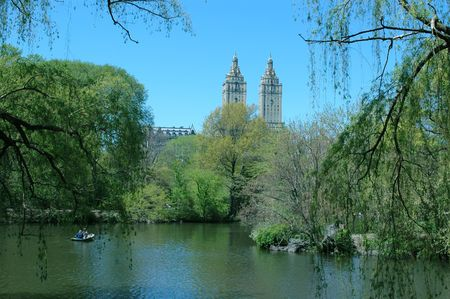 view from central park lake new york city