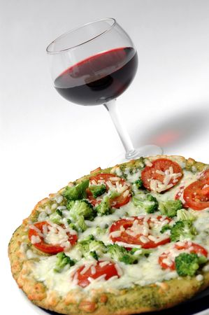 organic pesto pizza with glass of red wine Stock Photo - 394903
