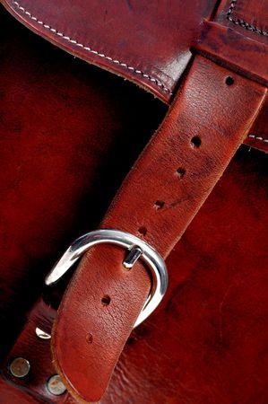 leren tas: details van de hand gedaan kwaliteit lederen tas Stockfoto