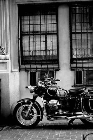 classic motorcycle in city Stock Photo
