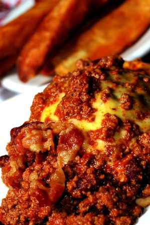 bacon chili cheeseburger with fat steak fries photo