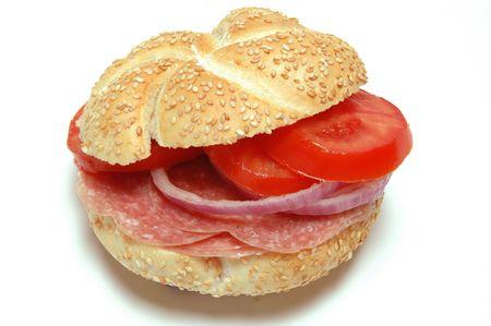 kaiser: salami sandwich on kaiser roll bermuda onions tomato