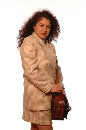 attractive hispanic travelling executive with quality leather bag photo