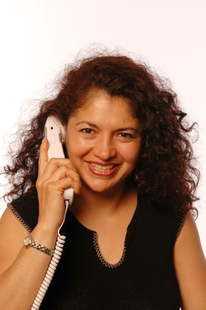 hispanic business woman with head set in office photo