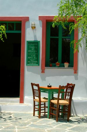 cafe setting in greek islands Stock Photo