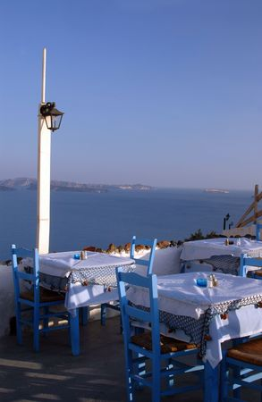 restaurant over the sea greek islands Stock Photo - 468045