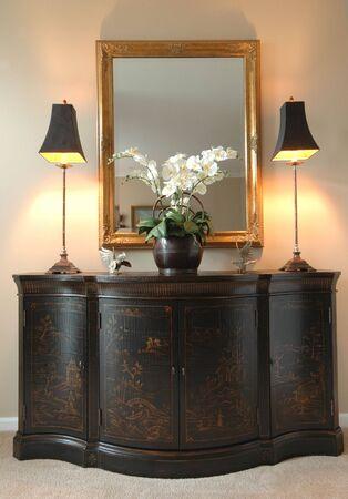 chinoiserie: oriental hallway ornamental chest