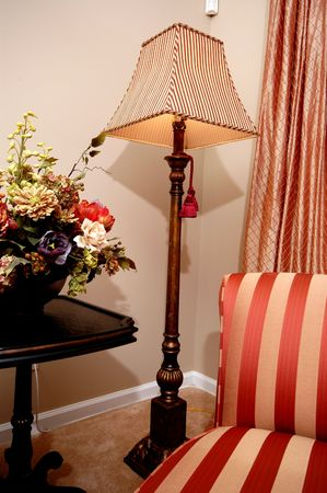 lamp shade: formal living room corner detail