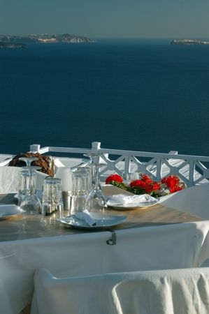 restaurant with a scenic overlook in the greek islands photo