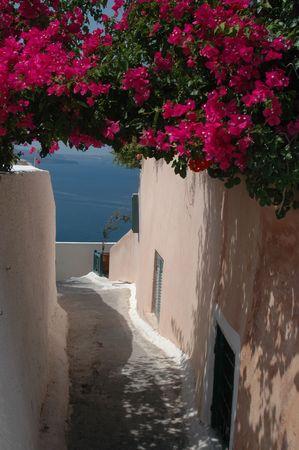overlooking: street scene overlooking sea in greek islands