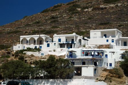 hotels on the hill greek island architecture Stock Photo - 485274