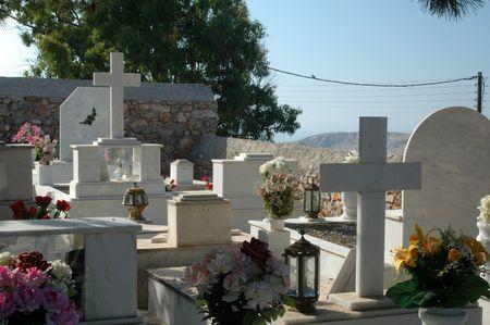 cemetery on a greek island Stock Photo
