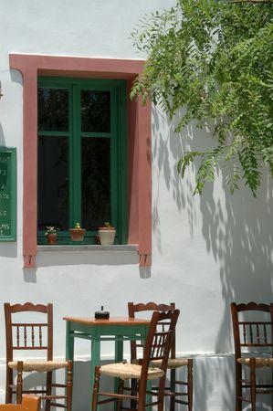 rhodes: cafe scene in the greek islands