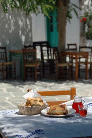 greek taverna lunch soft focus on background photo