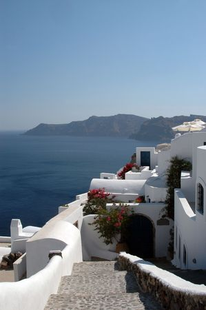 exquisite hotel over the sea in oia santorini greek islands photo