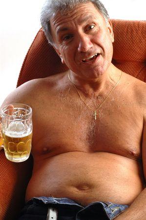 potbelly: happy man drinking beer Stock Photo