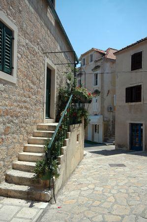 dalmatia: street scene in croatian islands dalmatia